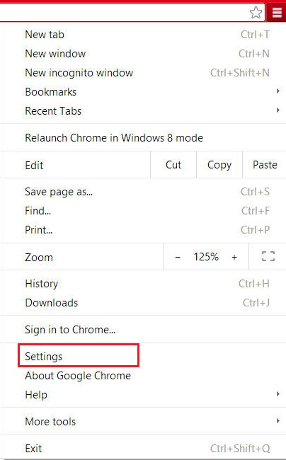 Chrome - Settings