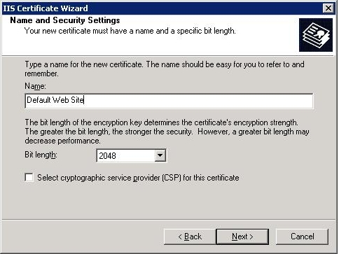 IIS SSL server certificate - security settings