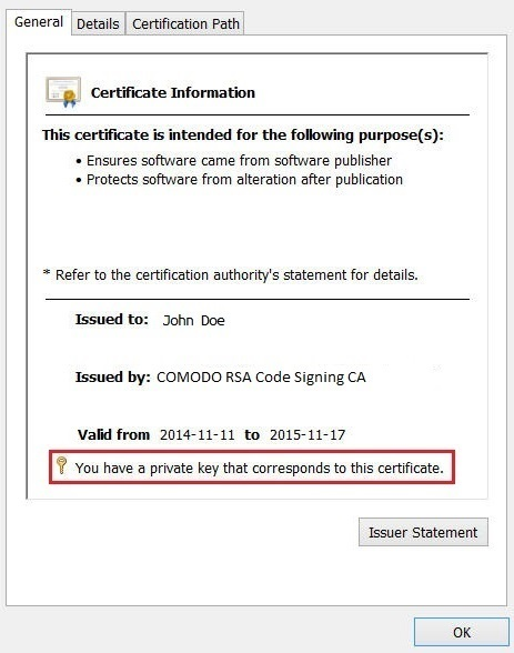 Internet Explorer - Certificates Window