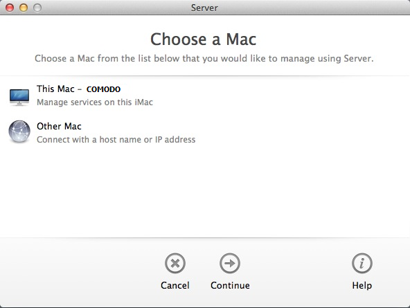 Mac OS X Mavericks Select Servername