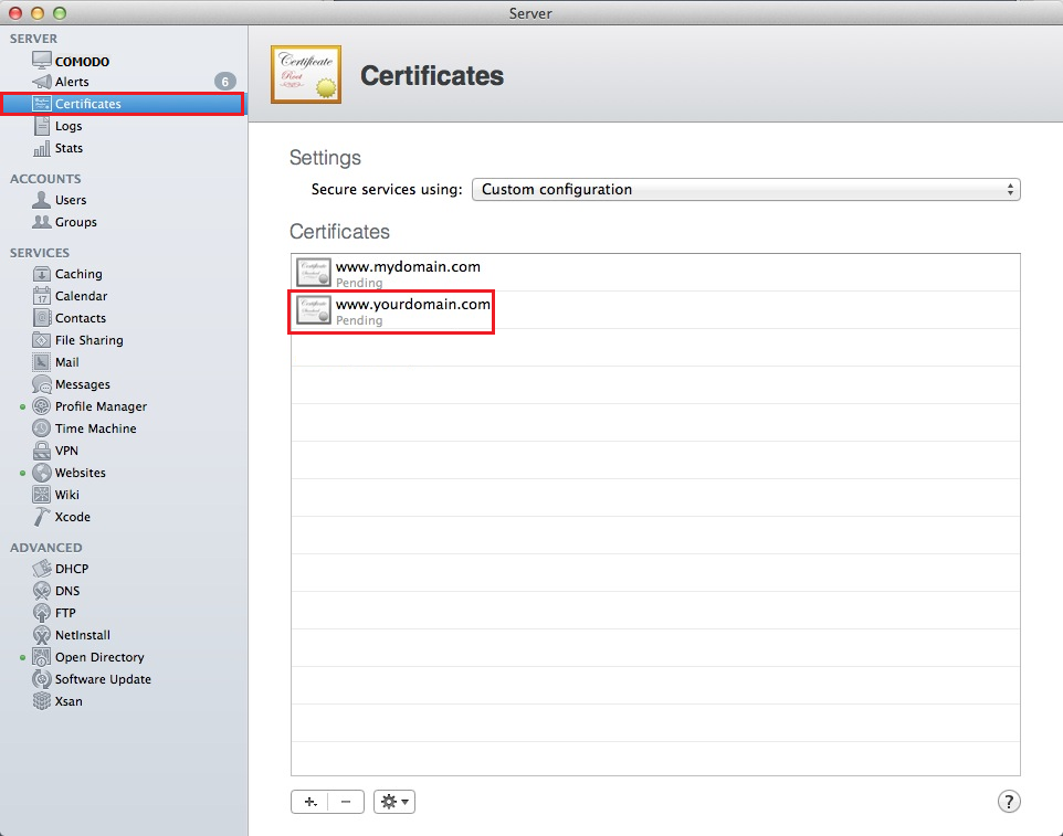 Mac OS X Mavericks Server App Certificates