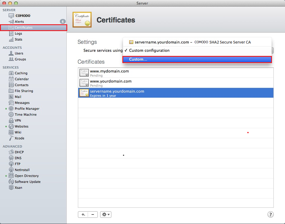 Mac OS X Mavericks, Certificate page select Custom