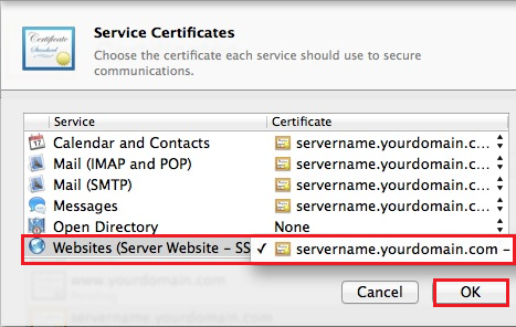 Mac OS X Mavericks, Assign Certificate to Website