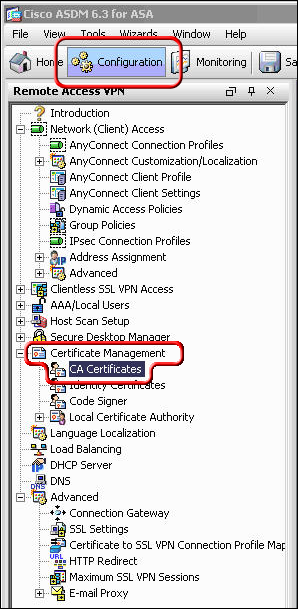 Configuration tab, click Certificate management, and CA Certificates highlighted