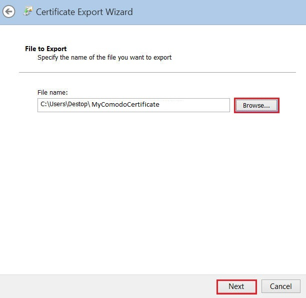 Internet Explorer - Certificate Export Wizard
