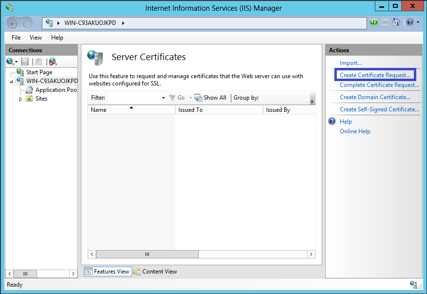 IIS 8 Create Certificate Request