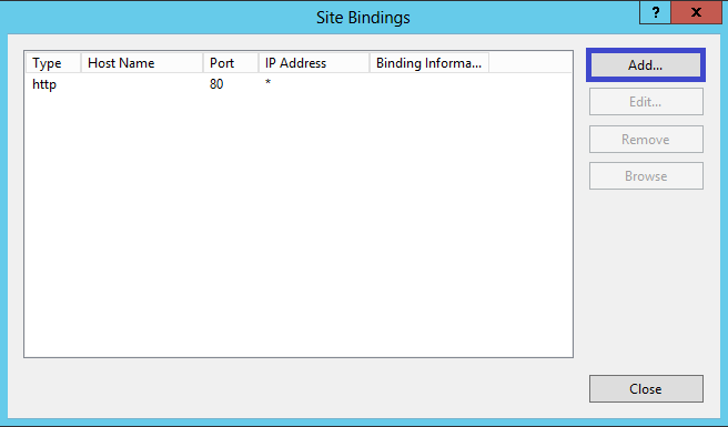 IIS 8 Site Bindings Window