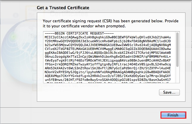 Mac OS X Mavericks Server App, Get a Trusted Certificate Finish