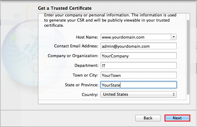 Mac OS X Mavericks Server App, Get a Trusted Certificate enter CSR information