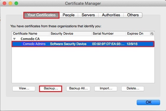 Firefox - Certificate Manager