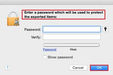 Mac - Export password