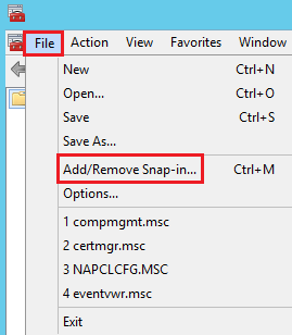 MMC Add or Remove Snap-in