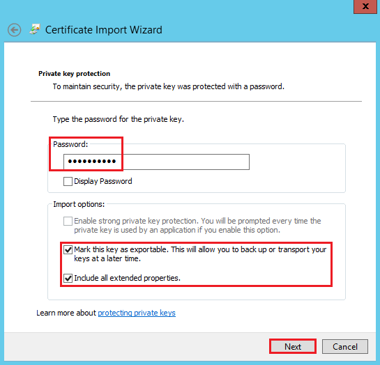 Certificate Import Wizard Password page