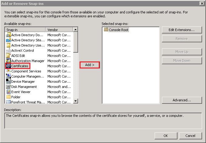 Add or Remove Snap-ins window, add Certificates