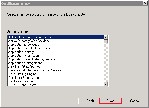 Certificates snap-in window, select Active Directory Domain Services