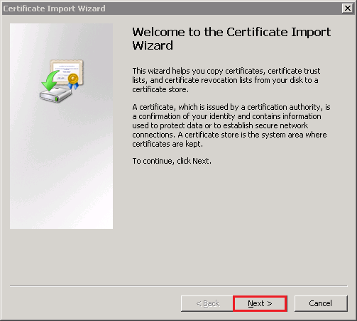 Certificate Import Wizard Welcome page