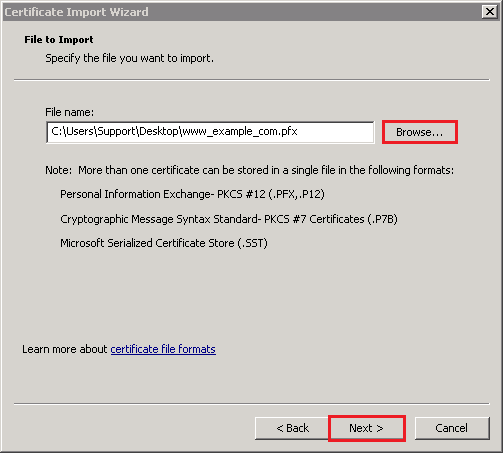 Certificate Import Wizard File to Import page