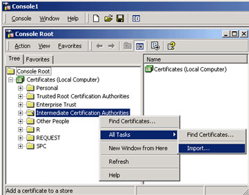Adding Root and Intermediate certificates via MMC - Powered