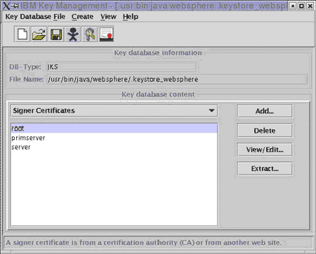 SSL Signer Certificate Screen